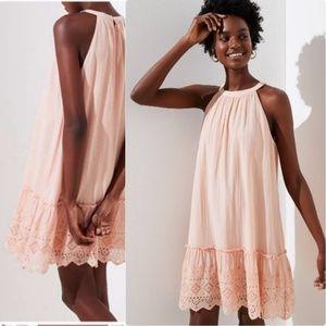 NEW LOFT Eyelet Halter Swing Dress